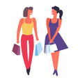 female friends shopping together buying clothes vector image