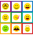 flat icon gesture set of frown descant pleasant vector image vector image