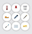 flat icon tool set of pushpin trashcan dossier vector image