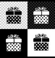 gift box and heart icon isolated on black white vector image vector image