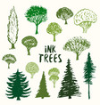 green trees silhouette collection hand drawn vector image