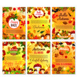 hello autumn seasonal greeting cards vector image vector image