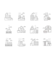 Industrial architecture flat line icons vector image vector image