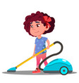 little girl vacuuming floor in house vector image vector image