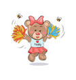 lovely teddy girl in cheerleading uniform with vector image vector image