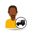 Man bearded character delivery vehicle transport