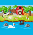 many animals on the farmyard vector image vector image