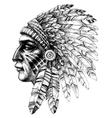 native american indian warrior profile with war vector image vector image