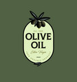 olive oil logo label food product design engraving vector image vector image