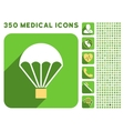 Parachute Icon and Medical Longshadow Icon Set vector image vector image