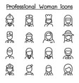 professional woman icon in thin line style vector image