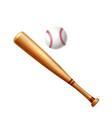 realistic baseball bat and ball for betting vector image vector image
