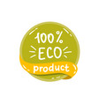 Round green label with text eco product