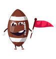 rugball rugball is holding flag on white vector image