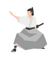 samurai warrior isolated on white background vector image vector image