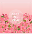 save date card with cherry blossom vector image