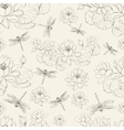 Seamless pattern lotus flower and dragonfly vector image