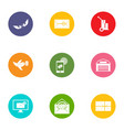 send the message icons set flat style vector image vector image