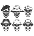 set of skulls in the hats vector image vector image
