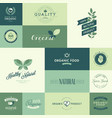 set organic flat design signs vector image