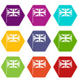 uk flag icon set color hexahedron vector image