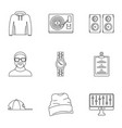 urban rap icon set outline style vector image vector image