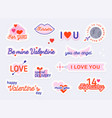 valentine day stickers and elements love concept vector image