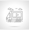 video ads on transport flat line icon vector image vector image