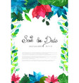 wedding card with flowers watercolor vector image vector image
