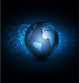 world with network communication and technology vector image