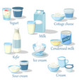 yogurt and kefir cottage cheese and ice cream vector image vector image
