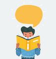 young boy reading book vector image vector image