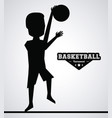 black silhouette faceless basketball player vector image