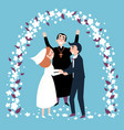 wedding ceremony arch happy priest and newlyweds vector image