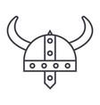 viking helmet line icon sign vector image