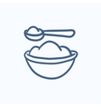 Baby spoon and bowl full of meal sketch icon vector image vector image