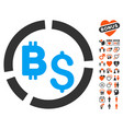 bitcoin financial diagram icon with love bonus vector image vector image