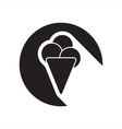 black icon with ice cream vector image vector image