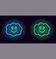 blue and green neon cloud with smile vector image vector image