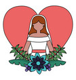 bride in dress flowers love heart vector image vector image