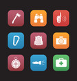 camping equipment flat design icons set vector image