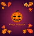 card with halloween pumpkin and foliage vector image vector image