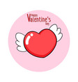 cartoon heart with wings vector image vector image