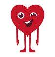 cartoon red heart wink vector image vector image
