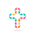 christian symbol colorful connection people cross vector image vector image