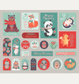 christmas cards and gift tags set with cute vector image vector image