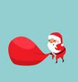 christmas santa claus pulling a huge red bag of vector image