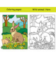 coloring book page and color template hare vector image