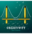 creativity learning bridge made with pencils vector image