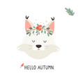 cute lynx in autumn wreath on white background vector image